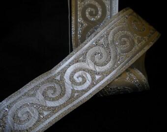 Swirl Ribbon, Silver Jacquard Ribbon Trim 10 meters roll  33mm