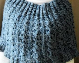 Elegant handknit cabled shrug or wrap