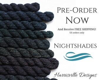 Pre-order! Nightshades - Black DK Weight woolen-spun American Cormo wool yarn