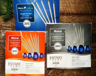 "Knitter's Pride Nova Cubics Platina - 6"" or 5"" Chrome Double Pointed Needle Set"