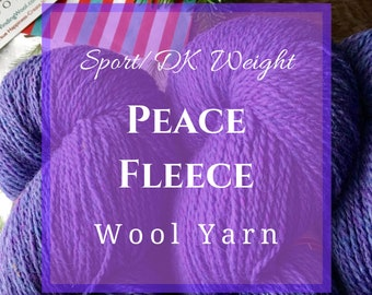 Peace Fleece - Sports weight wool yarn for knitting or crocheting