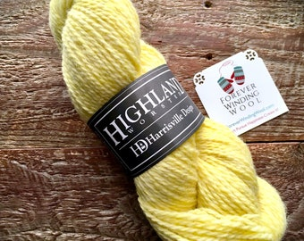 Yellow worsted weight wool yarn - Harrisville Designs Highland, Cornsilk