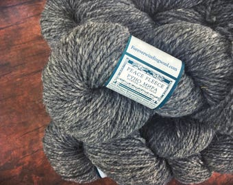 Peace Fleece - Rabbit Gray, worsted weight wool yarn for knitting