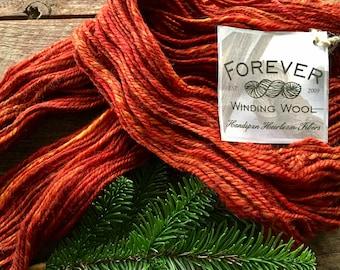 Orange handspun wool yarn, Corriedale - Autumn's Splendor