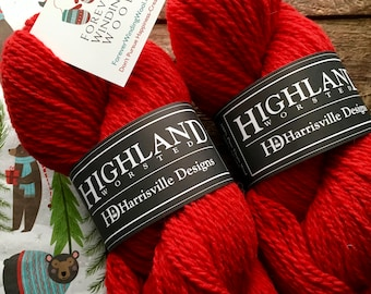 Red wool yarn - Highland worsted weight knitting or crocheting yarn