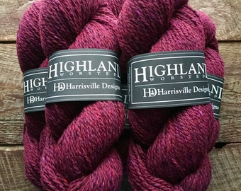 Wool yarn - Highland worsted weight knitting or crocheting yarn - Garnet