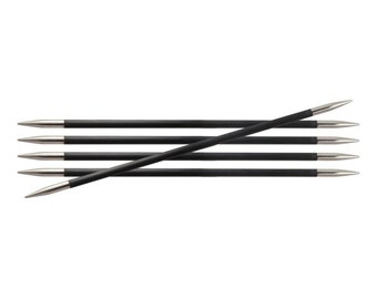 "Karbonz DPN knitting needles - 8"" (20cm) singles - 00000 to 10 US sock knitting needles"