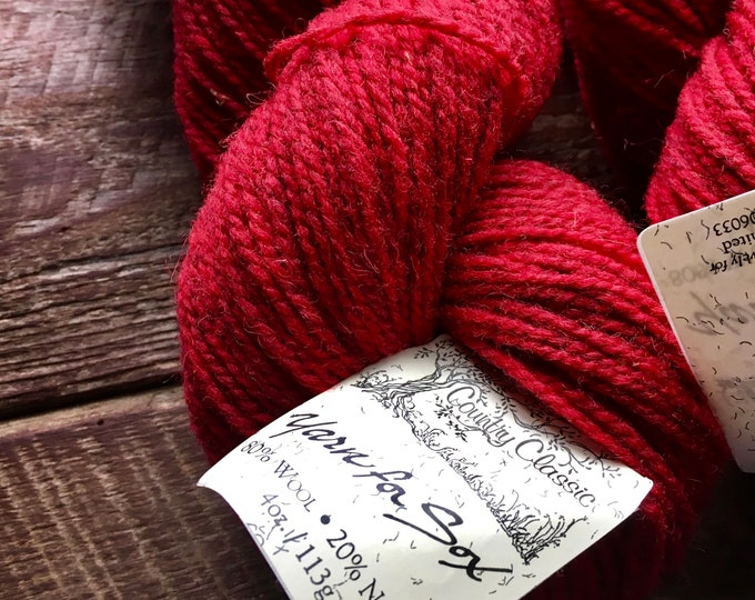 Featured listing image: Yarn for Sox - red worsted weight wool sock yarn