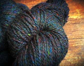 Peace Fleece - Bonnie Blue Gap, black wool knitting yarn