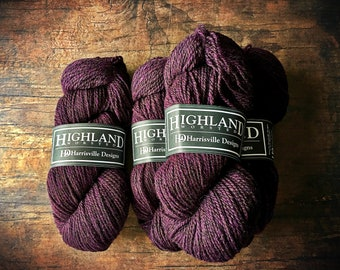 Worsted weight wool yarn - Blackberry, purple yarn