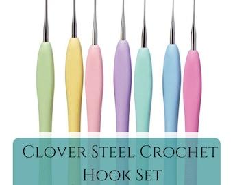 Steel crochet hooks set for lace - Clover