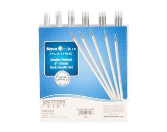"Knitter's Pride Nova Cubics Platina - 6"" Chrome Double Pointed Needle Set"