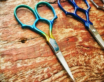 Epaulette Embroidery Scissors - ombré, silver, blue or gold