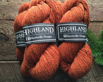 Highland worsted weight wool yarns, burnt orange brown - Topaz Lot#2245
