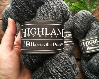 Highland worsted weight wool yarn for knitting or crocheting in Charcoal colorway