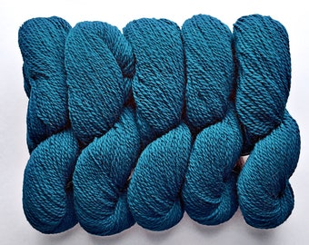 Wool yarn, Peace Fleece, worsted teal, knitting yarn, peacock, Baltic Blue