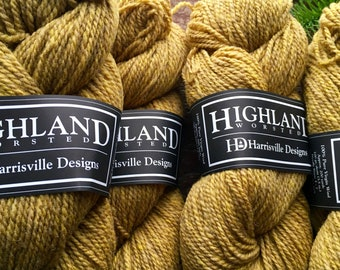 Straw - yellow brown worsted weight wool yarn for knitting or crocheting - Harrisville Designs Highland