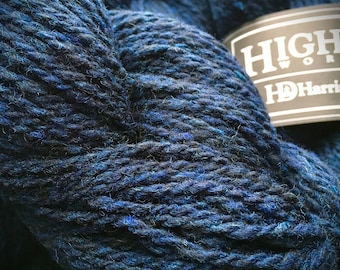 Navy blue worsted weight wool yarn for knitting or crocheting - Highland midnight blue
