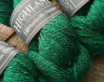 Evergreen wool yarn - Harrisville Designs Highland worsted weight green wool yarn for knitting or crocheting