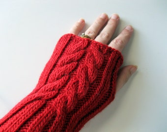 Fingerless gloves red, handmade, cable fingerless mittens, wrist warmers, arm warmers, gift for her, texting gloves