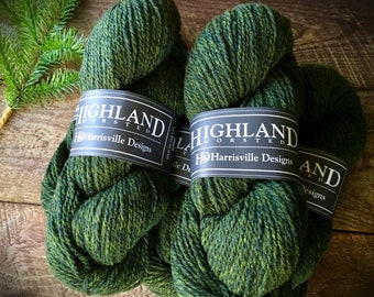 Worsted weight wool yarn - Cypress, green yarn
