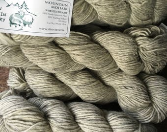 Mountain Mohair - Worsted weight knitting wool yarn, Blizzard