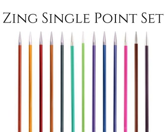 Zing single point aluminum knitting needle set
