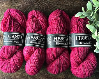 Bright pink hand knitting yarn - Highland worsted knitting wool yarn - Raspberry - 2 ply yarn