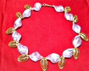 Pink Petal and 18 K Gold Leaf and bead necklace a la Miriam Haskell