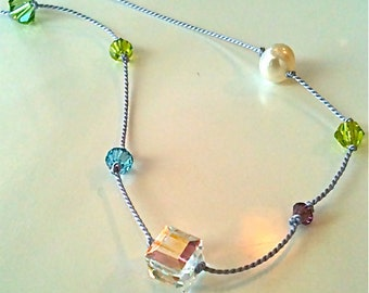 Mother and Grandmother Hand Knotted Silk Cord Necklace with Children and Grandchildren's Birthstones in 4 options: Custom Order