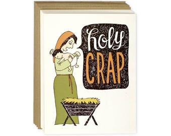 Funny Holiday Card Set of 8 - Holy Crap