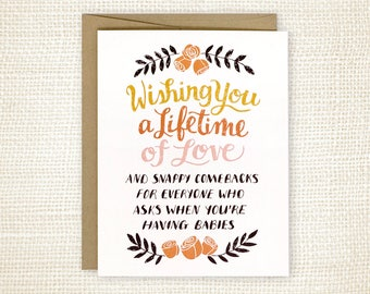 Funny Wedding Card - Funny Wedding Card for Friends - Wedding Wishes - Marriage Card - Snappy Comebacks