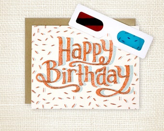 Birthday Card, 3D Glasses - Happy Birthday 3D
