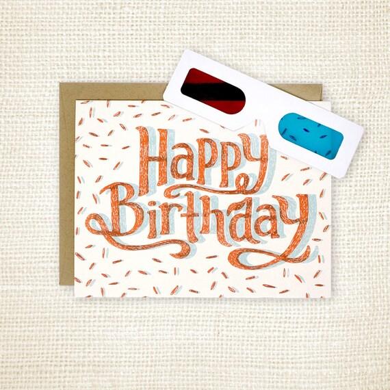 Birthday Card 3d Glasses Happy Birthday 3d