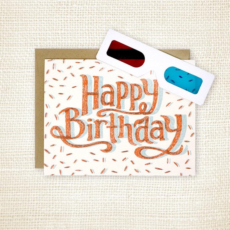 Birthday Card 3D Glasses Happy