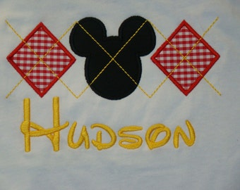 Unique Argyle Mickey Mouse Applique shirt with personalized monogrammed name in Disney font