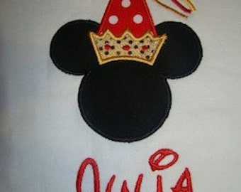 Princess Minnie Mouse Applique shirt with personalized monogrammed name in Disney World and Disneyland font