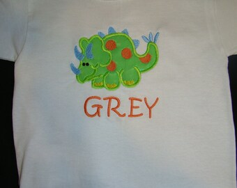 Dinosaur Applique with monogrammed name shirt, Birthday Tee