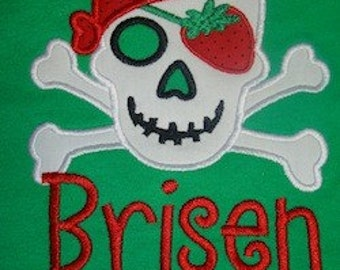 Strawberry Festival Summer Pirate applique on green tee shirt with personalized name