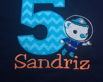 Octonauts embroidered Captain Barnacles with applique number for birthday tee shirt