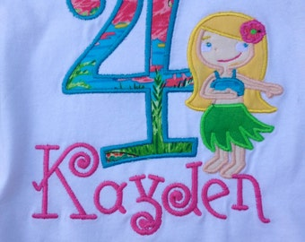 Polynesian Hula Princess Number tee shirt great for a Birthday Luau