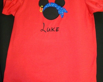 Pirate Mickey Mouse Applique Shirt for the 4th Fourth of July or Memorial Day