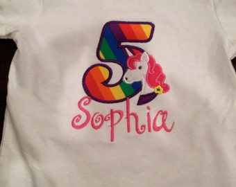 Applique Number Unicorn Rainbow Birthday Tee Shirt  with Free Monogrammed Name