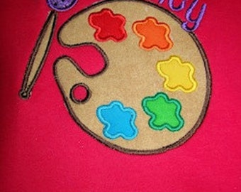 Artist Palette Paint Applique Birthday Rainbow Tee Shirt with Custom monogrammed name