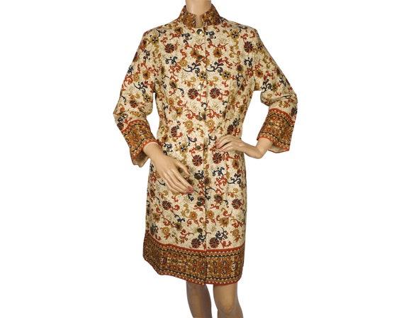 1960s Cotton Dress Indian Style Floral Print Nehru