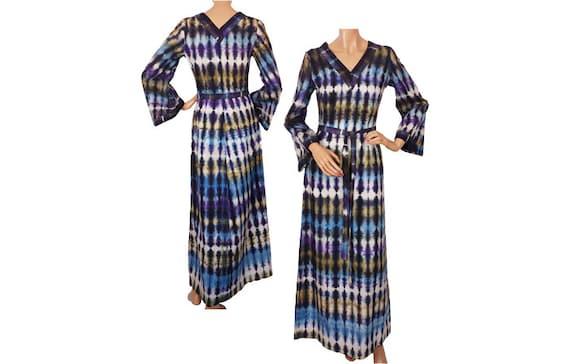 Vintage 1960s Boho Hippie Dress Tie Dye - Maxi Dre