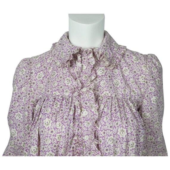 Antique 1800s Wrapper Dress Calico Floral Print P… - image 5