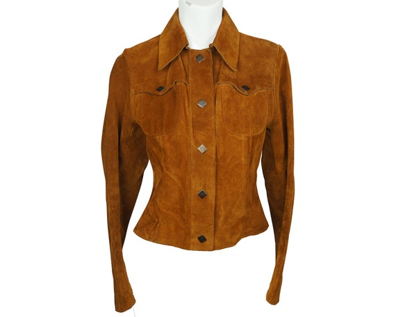 Vintage Early 1970s Mod Suede Leather Jacket Ladie