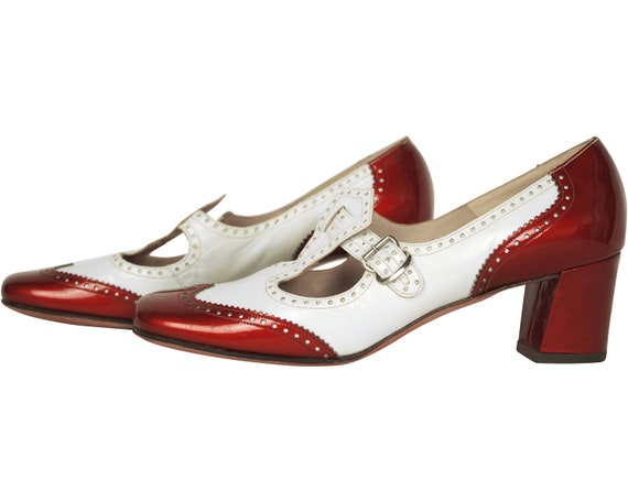 Vintage 1960s Shoes Ladies White & Red Patent Leat