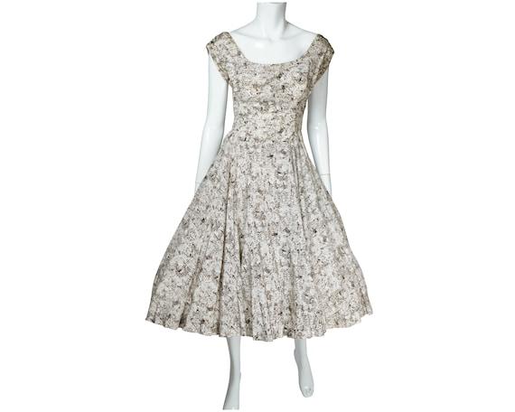 Vintage 1950s Crinoline Skirt Dress Abstract Print
